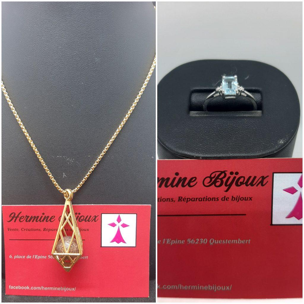 noël cadeau bague argent diamant topaze et collier acier doré